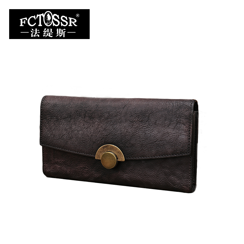 2018 Genuine Leather Bag Women Wallet Vintage Women Day Clutches Handmade Long style Purse Coin Card Holder yuanyu free shipping 2017 hot new women bag real women clutches pearl fish skin wallet long fashion leisure women wallet purse