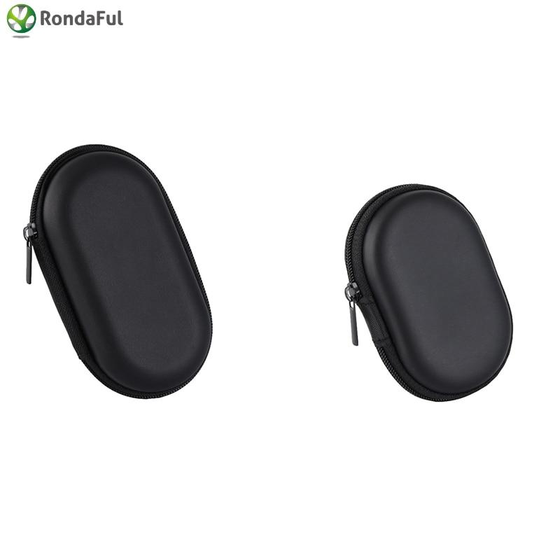 Bärbar för hörlurar fall svart oval hörlurar fall skyddande usb kabel arrangör ruta 2 storlek hörlurar väska DropShipping