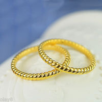 New Pure 999 24K Yellow Gold Band Women 3D Unique Design Ring 0.8 1g Size US5
