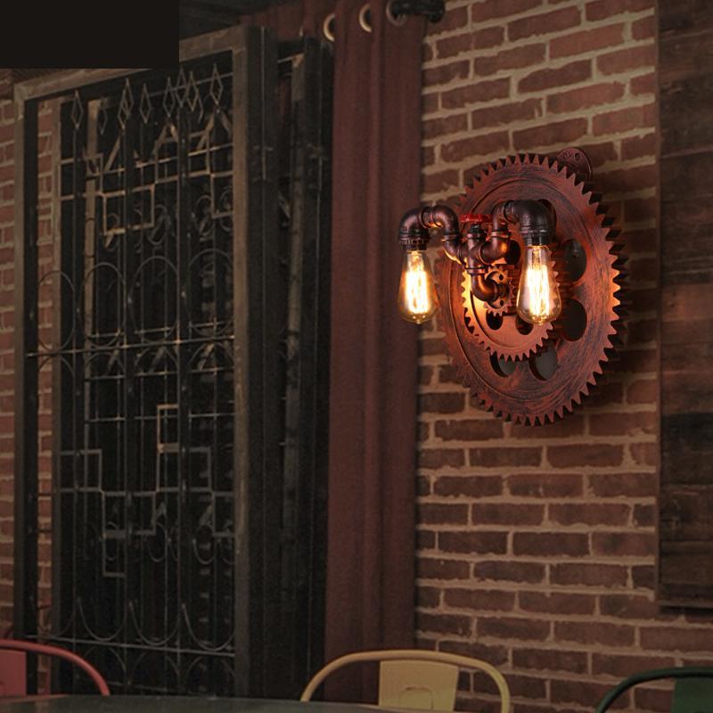 Hallway Rusty Brown Gear Wall Light For Bar Cafe
