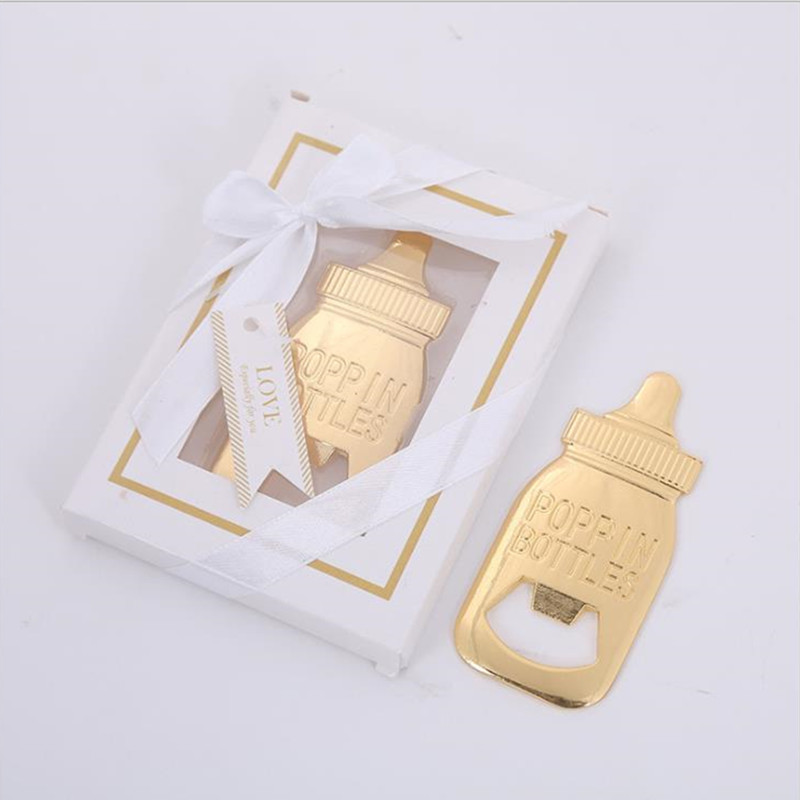 Gold Nursing Bottle Shape Bottle Opener Wedding Supplies Baby Show Birthday Party Gifts 10pcs