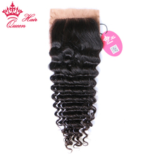 Queen Hair Products Brazilian Virgin Human Hair Deep Wave Silk Base Closure 100% Human Hair 4″*3.5″ Siwss Lace Natural Color