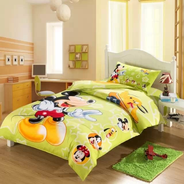 mickey mouse comforter bedding set single twin size bed duvet covers bedclothes cotton childrens bedroom decor