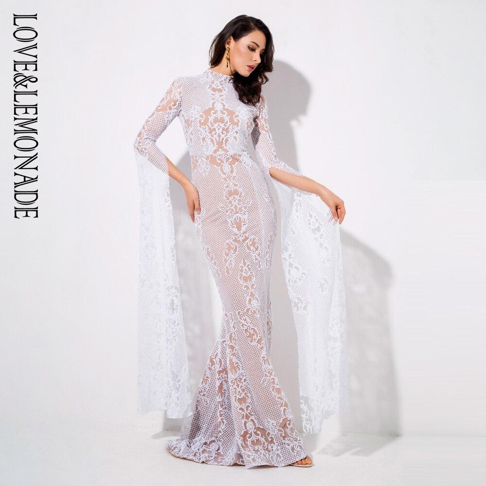 Amore & Limonata Bianco Geometria Del Collare del collare Svasato Manica Lunga Glitter Materiale Vestito Lungo LM1039-in Abiti da Abbigliamento da donna su  Gruppo 2