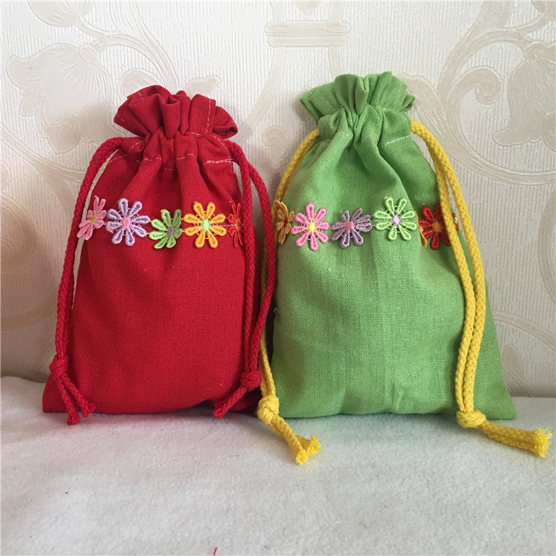 YILE Cotton Linen Drawstring Multi-purpose Organizer Pouch Party Gift Bag Embroidered Flower Trim 8410b