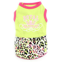 Pet Small Dog Clothes For Girls Summer Royal Crown Dress Leopard Skirt Green XS L