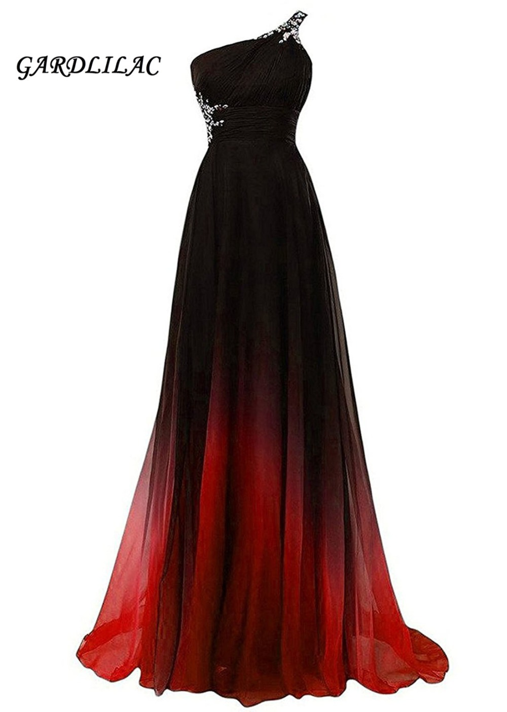 Beaded One-Shoulder Gradient Chiffon   Evening     Dresses   Vestido Longo Prom   Dress   2019 Ombre Prom Long Elegant   Dress   Plus Size