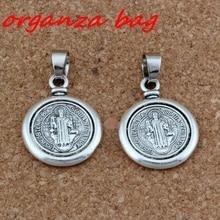 6pcs/lot Dangle Antique Silver Saint San Benedetto Medal Cross Charm Big Hole Beads Fit European Charm Bracelet Jewelry цена и фото
