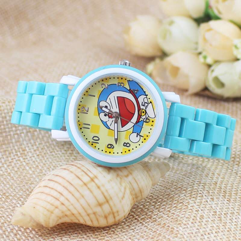 Leisure Fashion Children Cartoon Doraemon Jingdong Cat Silicone Watch Strap Quartz Watch Student Watch