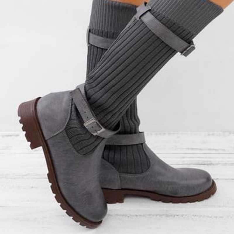 SHUJIN para mujer botas hasta la rodilla de retazos otoño zapatos planos de media pantorrilla botas de cuero PU de punta redonda dulces calcetines elásticos para mujer