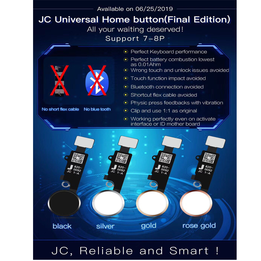 Universal Home Button Return Back Button For Iphone 7 7P 8 8P Home Button With Return Back,JC YF Button For Iphone 7 7P 8 8 Plus