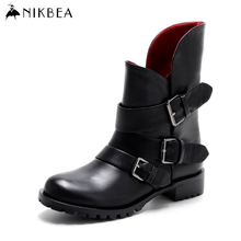 Nikbea Fashion Motorcycle Boots Black Ankle Boots for Women Boots Flat Handmade Winter Booties 2016 Brand Autumn Ladies Shoes