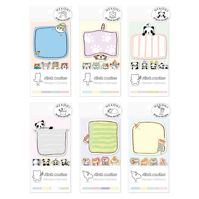 Kawaii Panda Cat Memo Pad N Times Adhesive Stickers Notepad Paper Bookmarks Label School Office Supplies Stationery