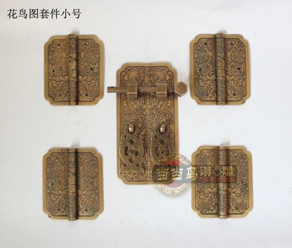 2015 Lift Top Coffee Table Mechanism Hinges Accessories Chinese 1pcs Bronze Copper Door Handle + 4 Pcs Hinge Bird Bookcase Kit