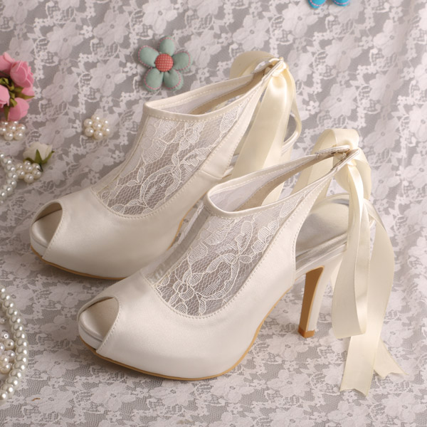 Wedopus Customized Design Platform Ivory Shoes for Wedding Pumps Open Toe Formal Wear Shoes