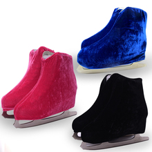 1 pair Ice Skating Figure Shoes Velvet  Cover Roller Skate Anti Dirty Flannelette Elastic For Kids Adult S M L 3 Colors