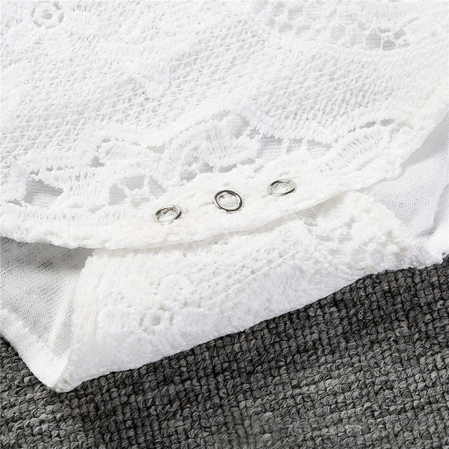 Baby Girls Ruffles Sleeve White Lace Romper 3