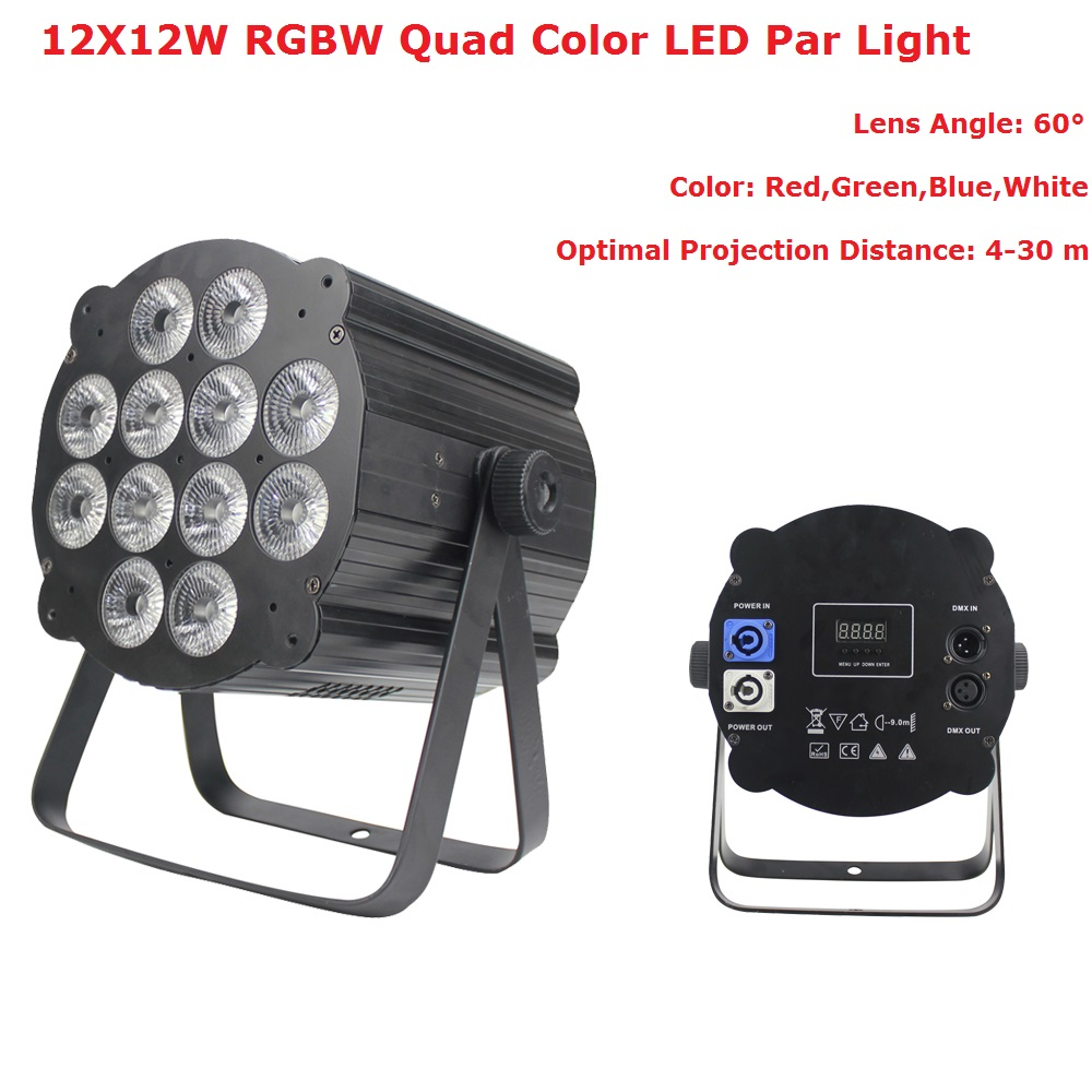 Le plus nouveau LED Par lumière 12X12 W RGBW 4IN1 LED plat Par canettes Disco Dj lampe stade lumières Luces Discoteca Laser faisceau Luz de projecteur