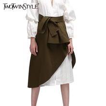 TWOTWINSTYLE Wrap Women Skirts Midi Ruffle Lace up High Waist A Line Long Skirt Asymmetrical Female Clothes Korean Army Green