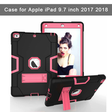 Shockproof Case for Apple iPad 9.7 inch 2017 2018 Kickstand Kids Silicone Hard Full Body Protective Case Cover for iPad A1893 for apple new ipad 9 7 inch 2017 2018 case hybrid front back 360 full protection cover shockproof 3 layers built in kickstand