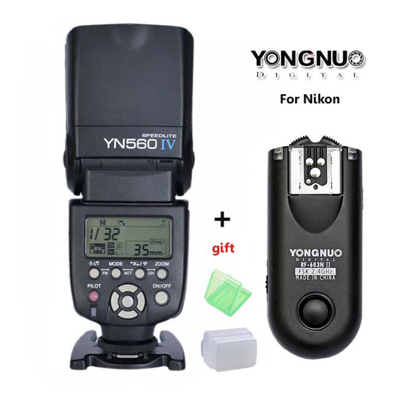 YONGNUO YN-560 IV Master Radio Flash Speedlite + RF-603 II Wireless Trigger for Nikon D800 D7100 D610 D5100 D760 D3300 D8 Camera yongnuo 3x yn 600ex rt ii 2 4g wireless hss 1 8000s master flash speedlite yn e3 rt flash trigger for canon eos camera 5d 6d