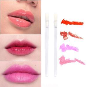 Image 4 - 500 pcs/lot pinceau à lèvres jetable poignée transparente applicateur brillant à lèvres rouge à lèvres Mascara outil de maquillage pinceau de maquillage
