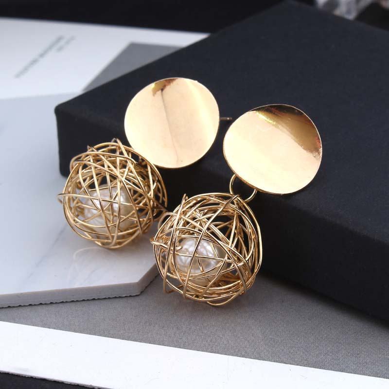 2018 retro geometric round woven ball pearl metal earrings