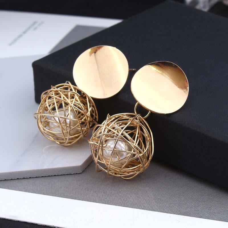 2018 retro geometric round woven ball pearl metal earrings