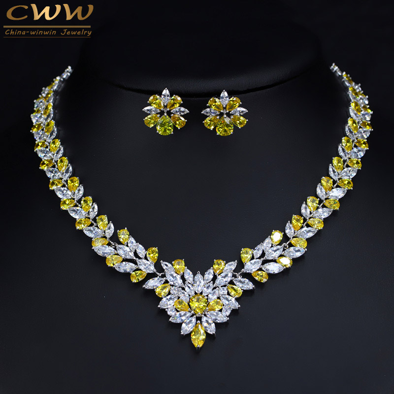 CWWZircons Sparkling Yellow Cubic Zirconia Wedding Necklace Earring Set For Women Luxury Bridal Jewelry Accessories T262