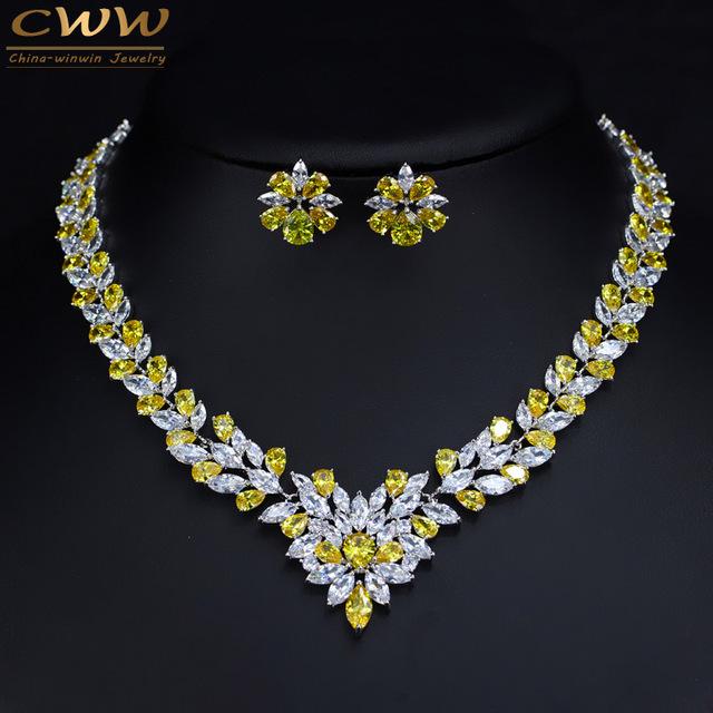 Sparkling Yellow Cubic Zirconia Diamante Simulado Collar de La Boda Accesorios Nupciales de La Joyería Del Pendiente Para Las Mujeres de Lujo T262