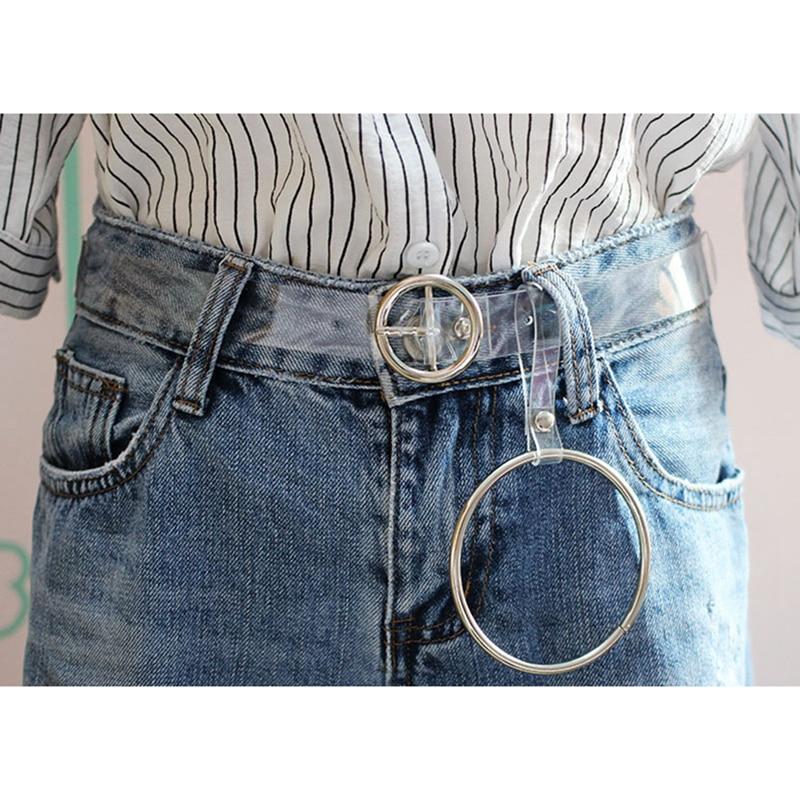 New Women's Strap Casual White Transparent Pvc Women Strap Color Belts Top Quality Fashion Jeans Belt