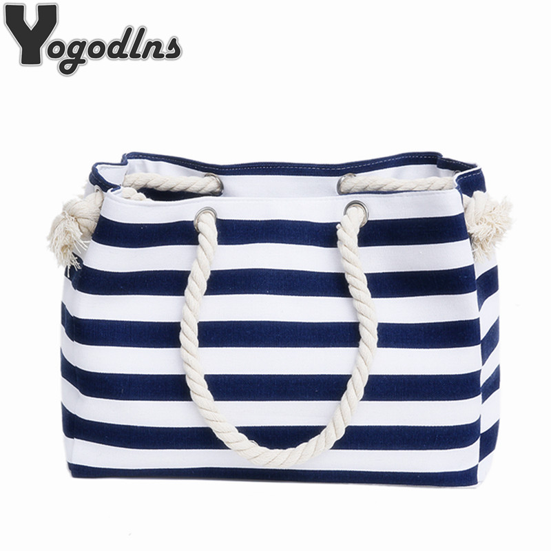 promo code 5a539 919b8 Special big Stripe shoulder handbags shopping bag beach handbag new fashion  canvas bag wild rough twine striped beach bag