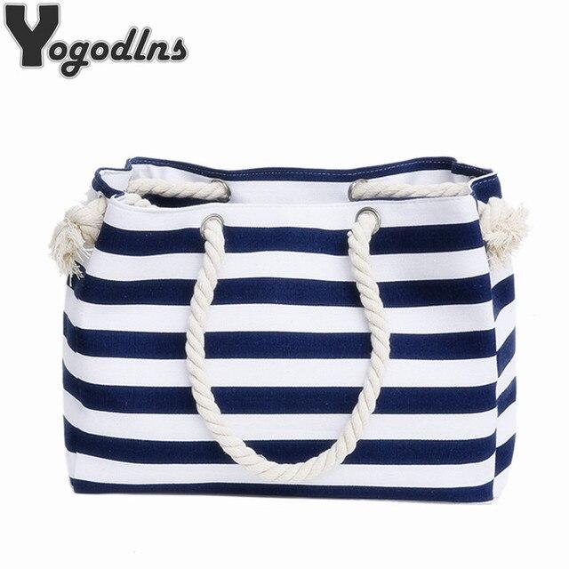 4c7bf7c824 Special big Stripe shoulder handbags shopping bag beach handbag new fashion  canvas bag wild rough twine striped beach bag