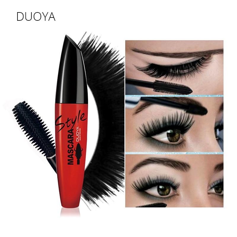 DUOYA 4D Δερμάτινη ίνα γυαλιστερή μάσκαρα μάσκαρα Αδιάβροχη μάσκαρα επιμήκυνσης μαύρο φυσικό λούσκα για τρισδιάστατα μάτια Καλλυντικά makeup μάρκας