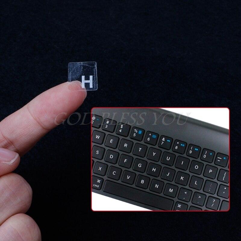 Autocollants de clavier transparents russes pour ordinateur portable de 10 à 17 pouces