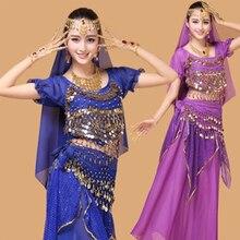 Conjunto de ropa de danza del vientre, ropa de rendimiento indio, 4 Uds. 7 Uds. De manga corta, falda, cinturón, diadema, pulsera, collar y pendientes