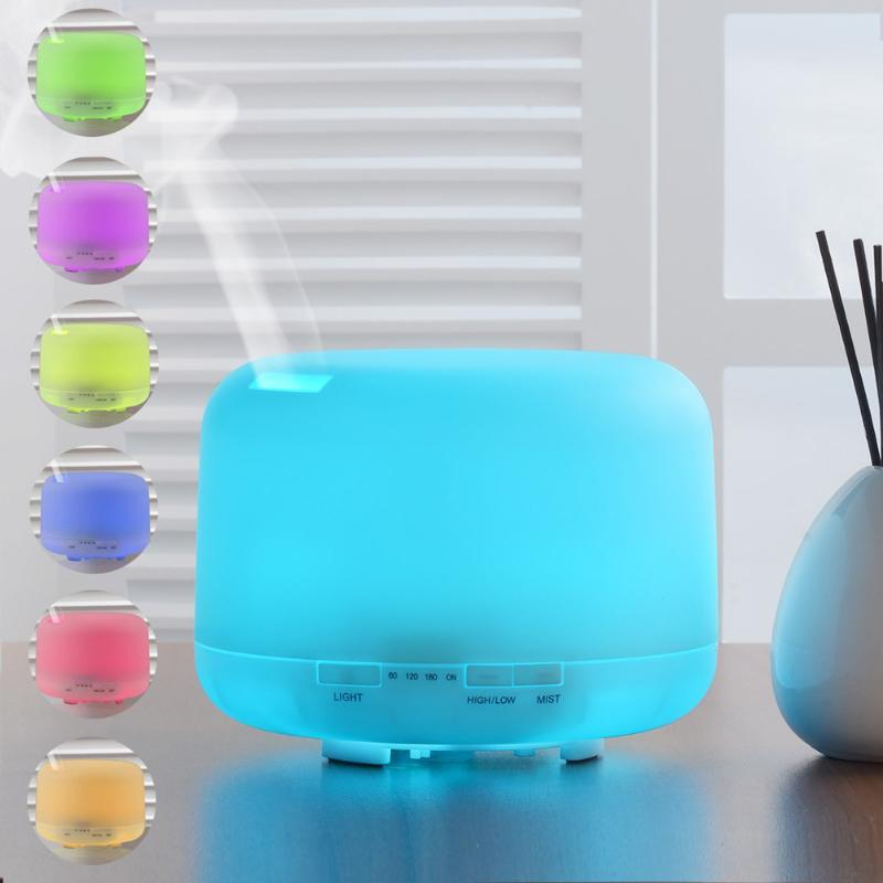 500ml Aromatherapy Essential Oil Diffuser Ultrasonic Air Humidifier 2 Levels Adjustable Mist Maker with 7 Colors LED Night Light crdc air humidifier ultrasonic 100ml aroma diffuser glass essential oil diffuser mist maker with 7 colors changing led light