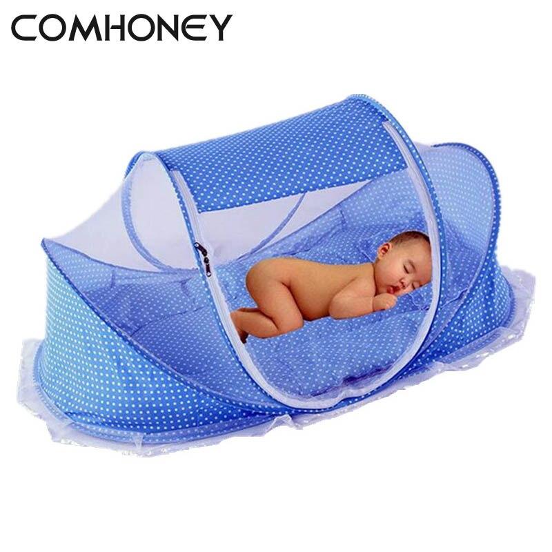 Plegable bebé recién nacido cama cunas con almohada estera portátil plegable cuna con Red niños infantiles cuna mosquitera