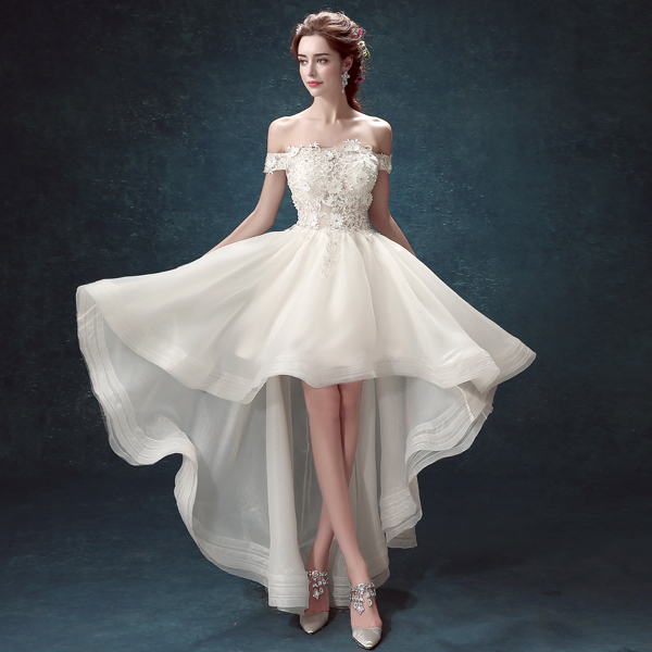 Long Short Dresses,Short Front Long Back Dress,Long Short Wedding Dress,