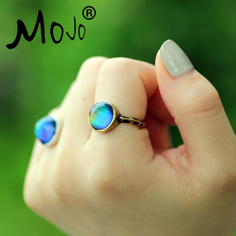 1 PC Antique Bronze Plated Color Changing Mood Rings Changing Color Temperature Emotion Feeling Rings Set For Women/Men MJ-RG002