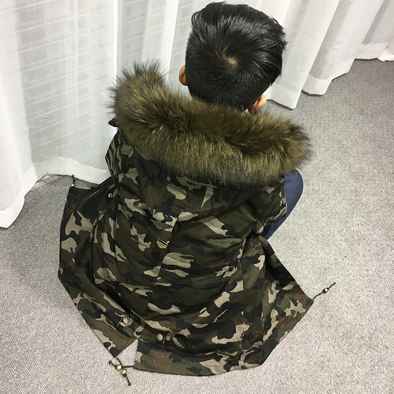 Natural Rabbit Fur Girls Army Green Coats Parkas Winter Warm Boys Jacket Children Real Raccoon Fur Collar Jacket TZ196