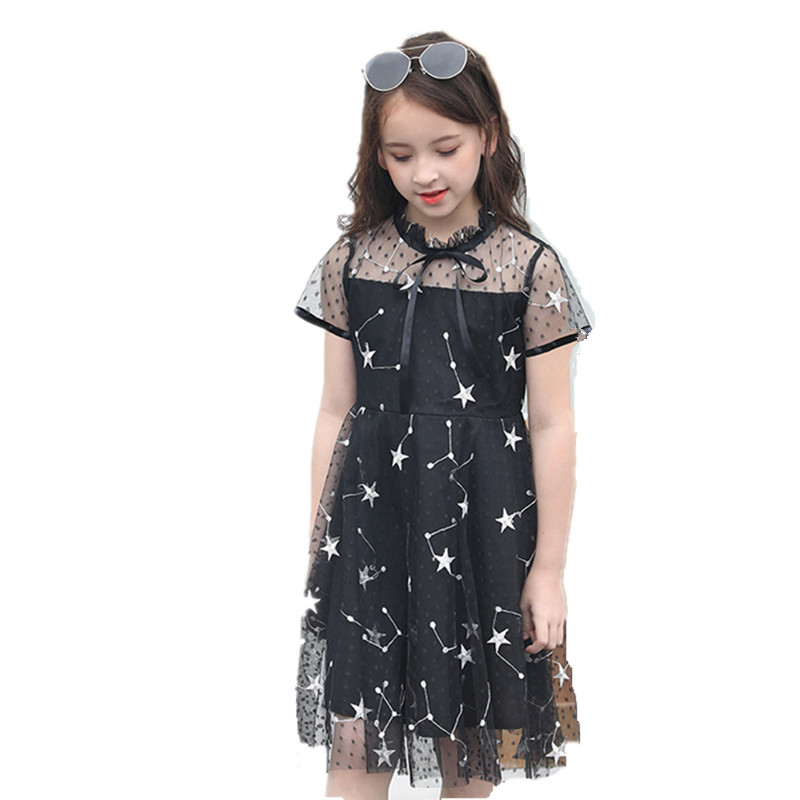Teenage Girls Dresses Summer Black Children Party Dress 6 8 10 12 14 16 Years Kids Costume For Girl Clothing Princess Dress