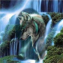 цена на Peter ren Diamond painting cross stitch Diamond embroidery animal Square & Round icon mosaic Full Drawing Iceberg Waterfall Wolf