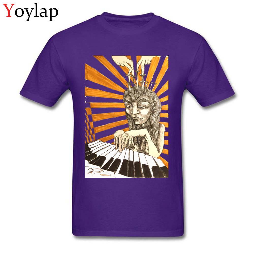 Summer Tops Shirt Newest O-Neck Short Sleeve Player Piano 100% Cotton Adult T-shirts Family Summer Fall Sweatshirts purple