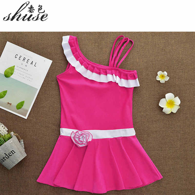 e7b09e718d9 ... One Shoulder Swimsuits Big Girl Swim Dress Children's Swimwear One Piece  with Safety Shorts Solid Color