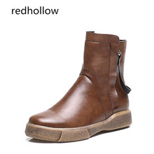 Ladies Shoes Women Boots Flat with Plush Zipper Rivets Sapatos Femininos Lace Up Leather Boots Platform Women Boots High Quality цены онлайн
