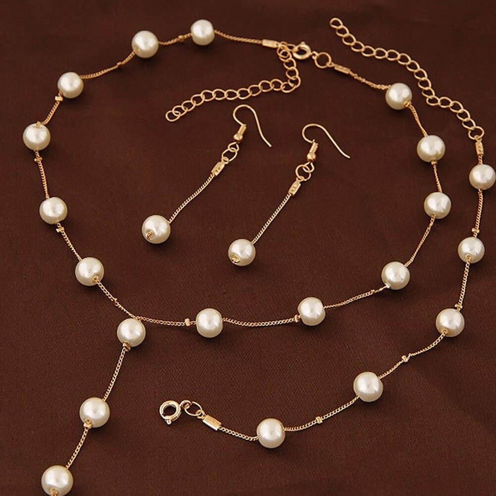 Brand New 2 Color Jewellery Sweet Elegant Women Imitation Pearl Jewelry Sets Simple Choker Necklace Bracelet Earrings Bridal