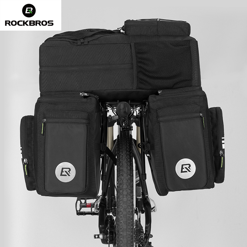 Rockbros Bike Bicycle Bag 48L MTB Bike Rack Bag 3 in 1 Multifunction Road Ciclismo Pannier Rear Seat Trunk Bag With Rain Cover roswheel 50l bicycle waterproof bag retro canvas bike carrier bag cycling double side rear rack tail seat trunk pannier two bags