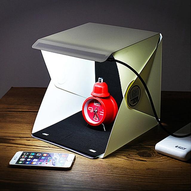 100% Merek Baru 5 V Mini Lipat Cahaya Room Photo Studio Fotografi Latar Belakang Mini Cube Lightbox Portabel Kotak Pencahayaan Tenda kit