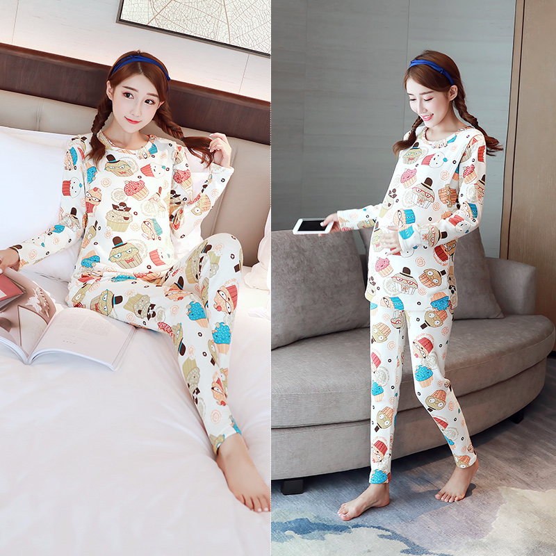 2018 spring velvet thicken warm pregnancy pajamas sets pajamas for pregnant women breastfeeding clothes nursing sleepwear set